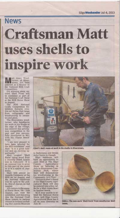 Matt-Jones-Woodturner Article that includes Sligo County Agricultural Show